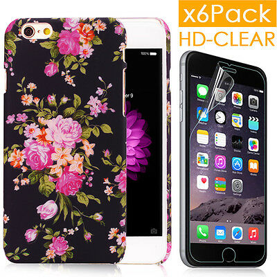 Back Case w/Glowing Cool Design Flower+6pcs Films For iPhone 6 6S Plus w/Gifts