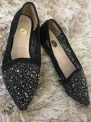 Woman's Ladies Piolin Bridal Formal Evening Special Occasion Crystal Flats 40
