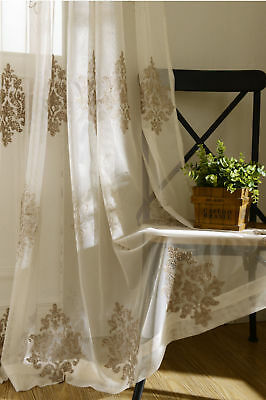 Shiny Sheer Window Curtain Gray Tulle Home Fabric Rod Pocket Custom Size 1 piece