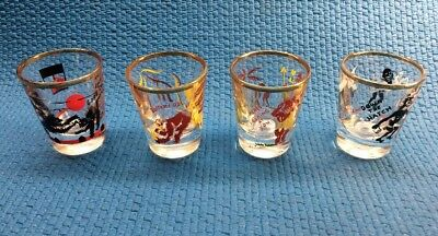 Vintage Federal Glass Rumpus Set Of 4 Novelty Shot Glasses