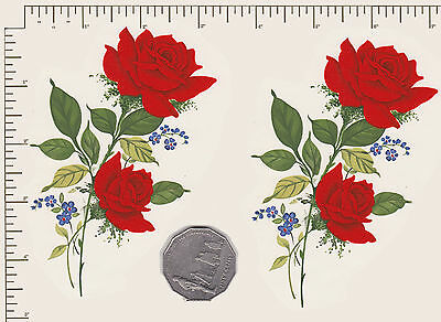 "2 x Waterslide ceramic decal Decoupage Red rose spray 4 3/4"" x 3""  PD856b"