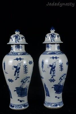 A Pair Chinese Beautiful Blue and White Porcelain Characters Vases