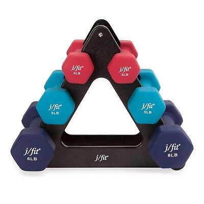 J/FIT 20-5200 32-Pound Dumbbell Set with Rack