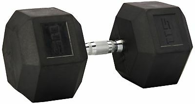 Cap Barbell Rubber Coated Hex Dumbbell with Contoured Chrome Handle (15-Pound)