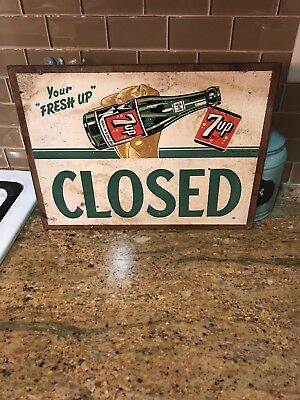 """Rare 7-Up Grocery Store Soda Open/Close Metal Sign 16"""" Wide x 12"""" Tall"""