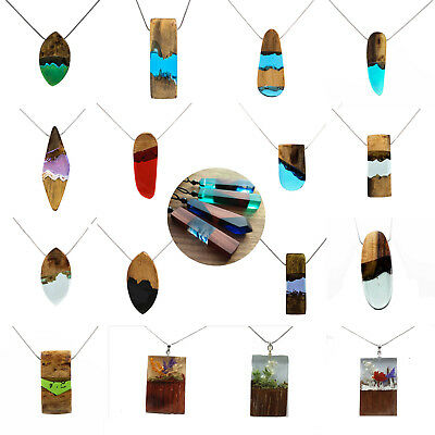 Vintage Resin Wood Chic pendant Handmade Chain Necklace Leather Cord Rope Design