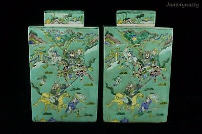 A Pair Chinese Beautiful Famille Rose Porcelain Warriors Fighting Tea Caddies