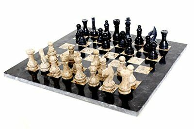 Marble Chess Set 16 Inches Handmade Full Game Board Black & Fossil Coral Marble
