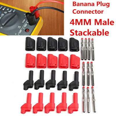10Pcs Red/Black Safety Fully Insulated Male Stackable Banana Plug Connector 4mm