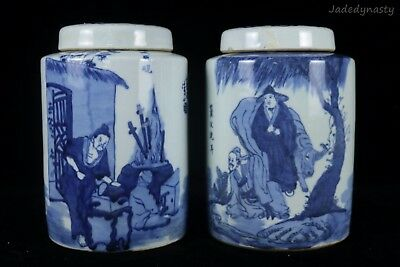 A Pair Chinese Beautiful Blue and White Porcelain Characters Tea Caddies