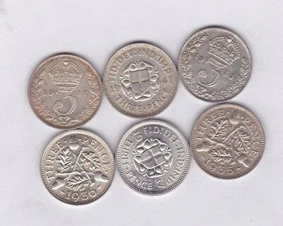 1913/1917/1935/1936/1937 & 1941 Silver Threepence Coins In High Grade