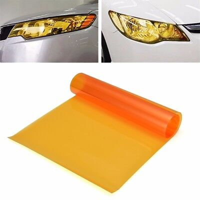"12 x 48"" Amber Orange Tint Headlight Taillight Fog Light Vinyl Smoke Film Sheet"