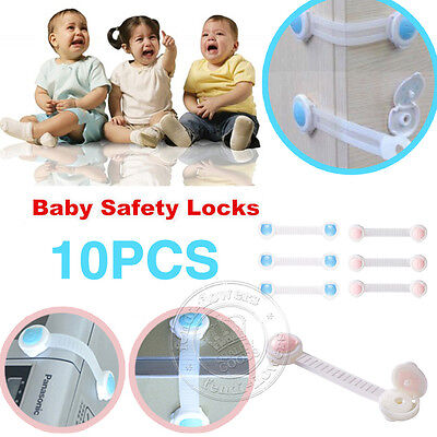 10 pcs Adhesive Child Kids Baby Safety Cupboard Cabinet Door Drawer Fridge Lock
