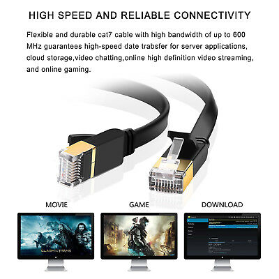 CAT 7 6 5 5e Ethernet Network Internet RJ45 Network LAN Cable For Sony PS3 PS4