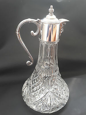 Falstaff Vintage Silver Plated Cut Glass Bacchus Decanter Wine Water Claret Jug