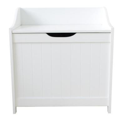 White Wooden Ottoman Laundry Linen Storage Box Home Chest Trunk