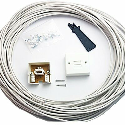 15M BT Telephone Master Socket/Box Line Extend Extension Cable Kit - 10m 15m