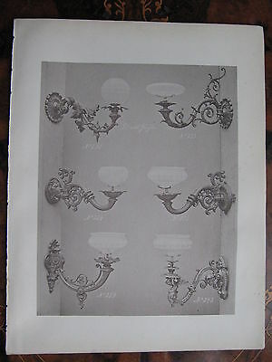 Glass Shade Gas  Wall Sconce Light Fitting   c1870 Photogravure