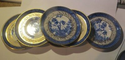 """6 petites assiettes anglaises bleues avec dorures """"Booths stlicon china Made in"""