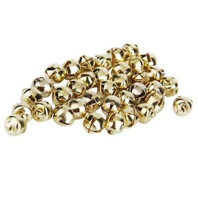 100pcs Metal Loose Bead Charms Christmas Jingle Bells for Craft DIY Gold 6mm
