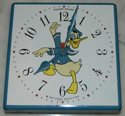 Vintage Phinney Walker Enamel Disney Wall Clock Donald Duck Works