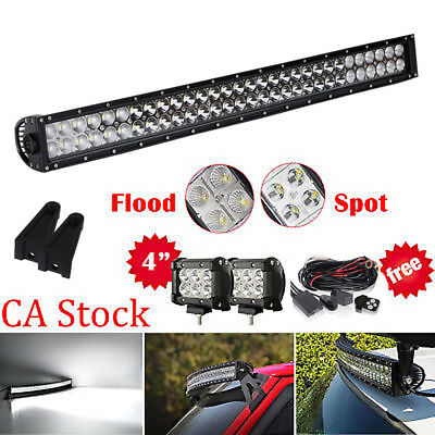 "32inch Led Light bar +2X 4"" CREE Work Pods Offroad Ford Jeep SUV Truck 30"