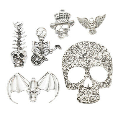6pcs Halloween Skeleton Charms Pendants for DIY Necklace Jewelry Crafts