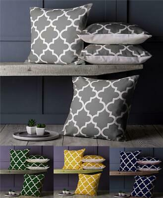 Set of 4 Set of Linen Moroccan Geometric Design 18 inch Cushion Covers