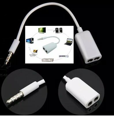 Quality 3.5mm Headphone Splitter Jack Male to 2 Dual Female Cable Lead Audio Y