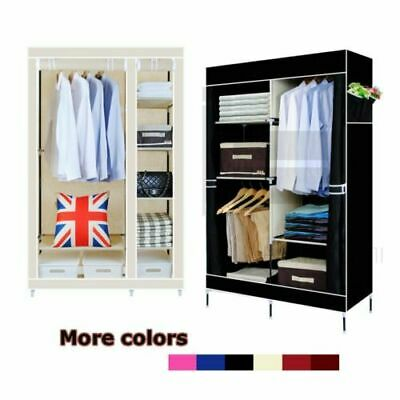 Multiple Double Canvas Wardrobe Bedroom Storage Clothes Hanging Rail Cupboard