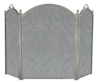 Uniflame® Satin Pewter 3-Panel Fireplace Screen with Black Mesh Backing S-7539
