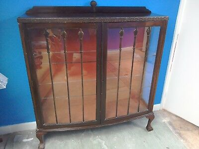 Display cabinet ball and claw feet antique restoration needed China cabinet