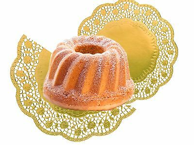 Cake Top Gold Round 36 cm, 4 Piece/Pack Food Paper Decoration Lace Gold