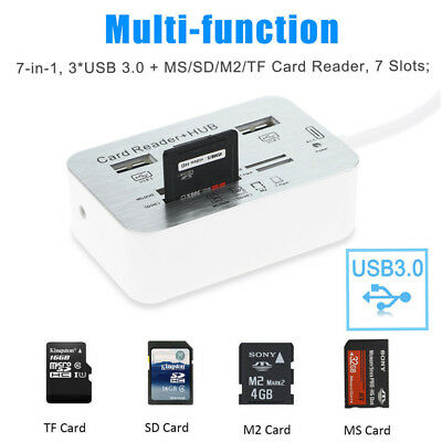 Aluminium 3 Port USB 3.0 Hub MS SD M2 TF Speicherkartenleser Card Reader Adapter