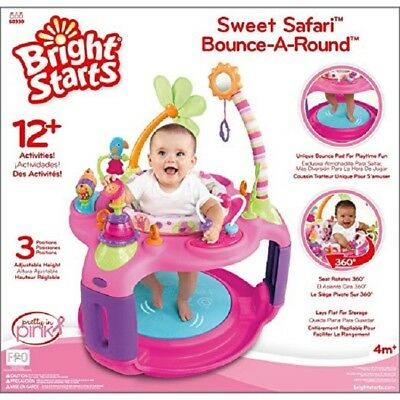 Infant Baby Bounce Seat Pink Fun Sweet Safari Bounce Round Activity Center New