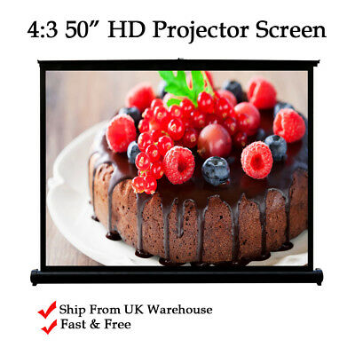 """4:3 HD Projection Desktop Screen Portable for Home cinema Meeting Conference 50"""""""