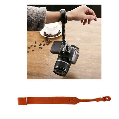 Brown Genuine Leather Camera Hand Wrist Grip Strap for SLR DSLR Canon Nikon