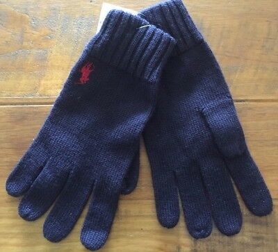 Ralph Lauren Men's Merino Wool Knitted Gloves One Size Navy RRP £ 40