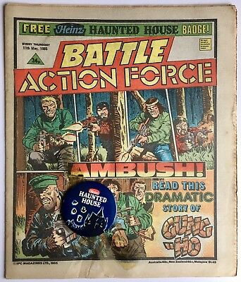 BATTLE ACTION FORCE / 11th MAY 1985 / UK COMIC w/FREE HEINZ HAUNTED HOUSE BADGE!