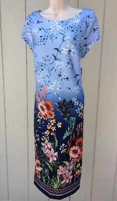 BEIGE BY ECI Ombre Blue Multi-Color Floral Cap Sleeve Midi Knit Dress NWT US 12