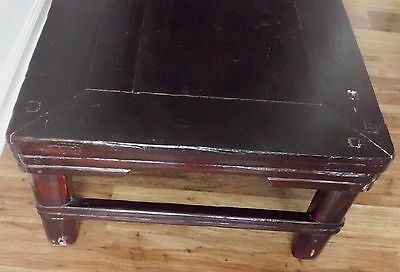 """Antique Qing Dynasty Chinese 34"""" Dark Red Lacquered Elm Wood Tea Table"""