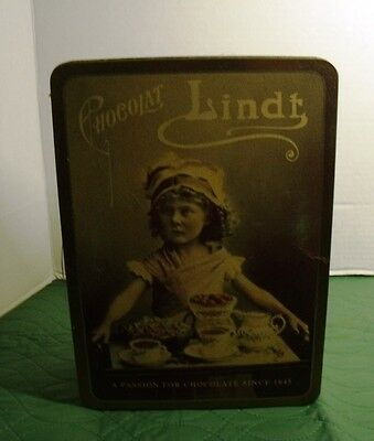 Vintage Lindt Chocolate Tin Can Girl W/Serving Tray Advertising