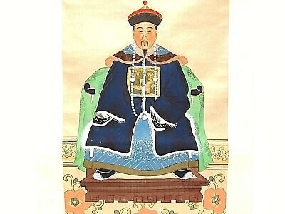 "35"" long New Chinese Original King Emperor Watercolor Silk Scroll Painting"
