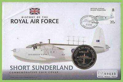 B.I.O.T. 2008 RAF Short Sunderland One Crown Coin First Day Cover