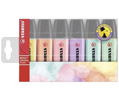 STABILO BOSS Assorted Pastel Wallet Highlighter Pens 6 Pack Chisel Tip 2.5mm