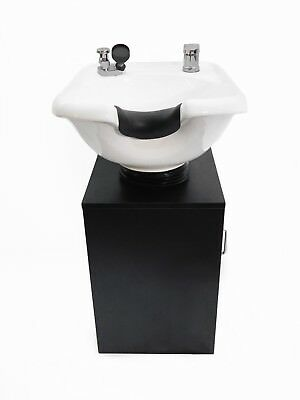 Ceramic Tilting White Salon Spa Shampoo Bowl w/ Black Cabinet TLC-W33Tilt-C