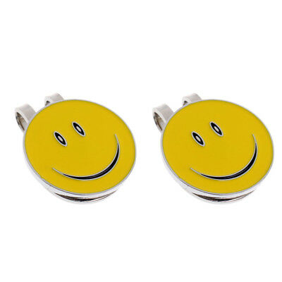 2Pcs Alloy Happy Face Golf Ball Marker with Magnetic Hat Clip Golfer Gifts