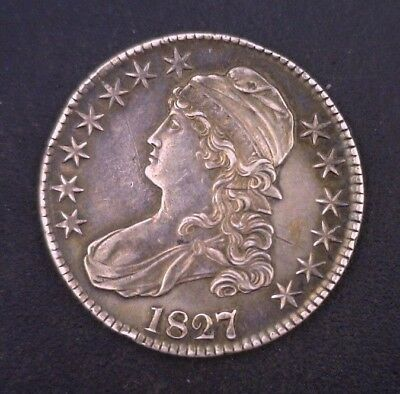 1827/6 Capped Bust Half Dollar Raw Rare Variety Key Coin