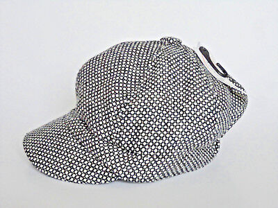 eafa5adf407 JEANNE SIMMONS Wool Poly Blend Black White News Boy Big Apple Hat NWT!