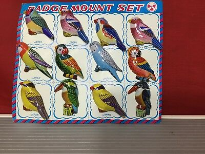 Set Of 12  Vintage Tin Litho Bird Pins Made In Japan Nos Colorful